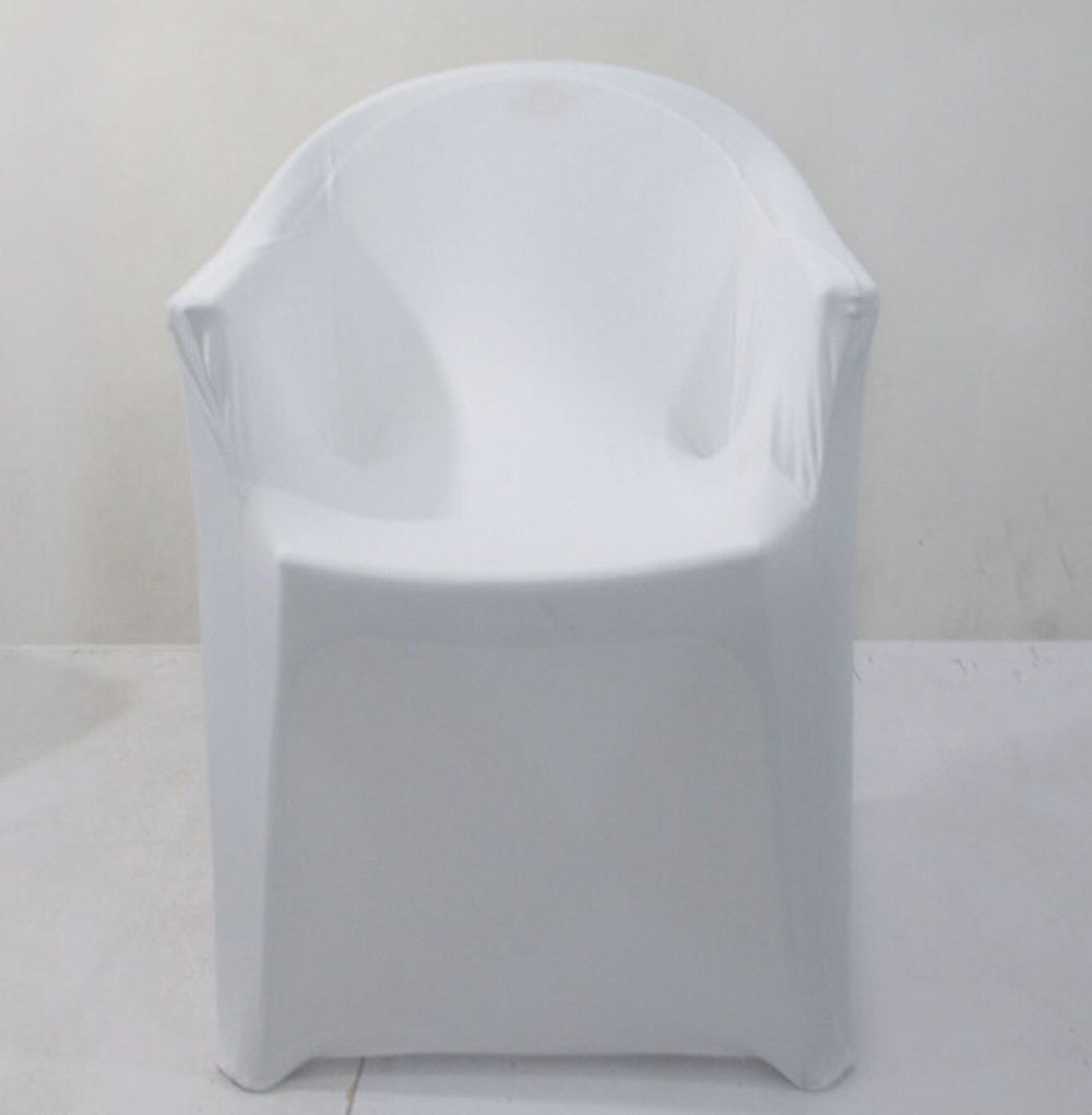 White Lycra Spandex Office Arm chair Covers wholesale