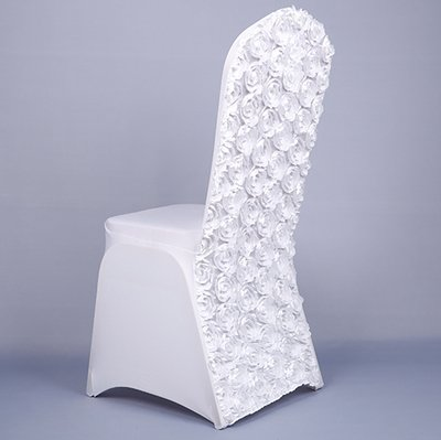 White rosette spandex chair covers for wedding wholesale