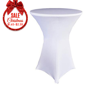 Φ80 x 110 white stretch spandex round cocktail table cloth covers for party wedding factory
