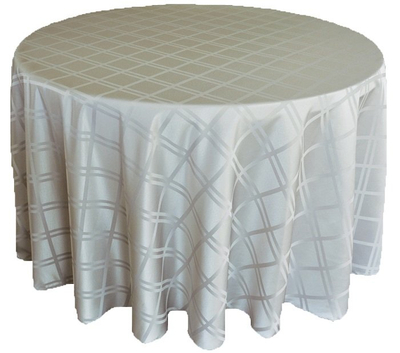 Plain Jacquard Poly Round Tablecloth