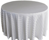 Fancy 120''R Polyester Jacquard Strip 90 Round Ivory Tablecloth