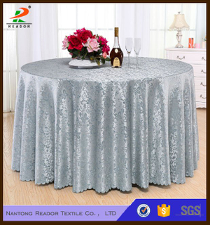 Customized Gold Round Jacquard Tablecloth