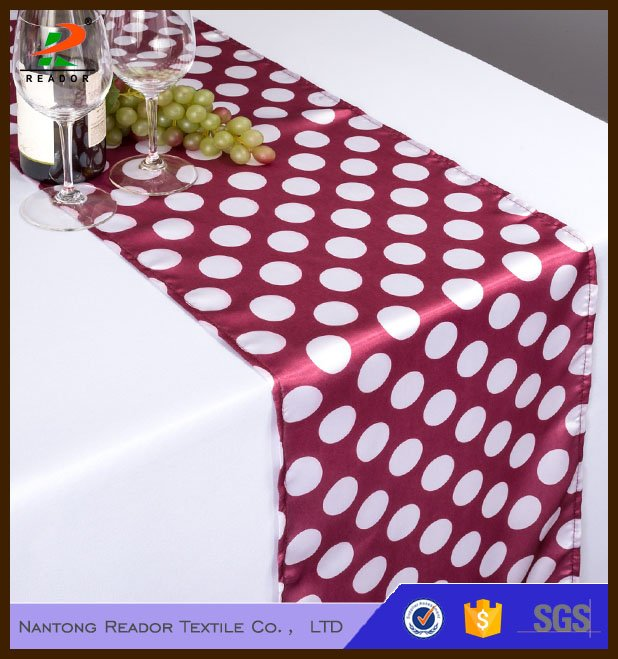 1.14x 108 in. Polka Dot Satin Table Runner
