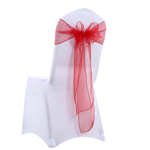 Professional organza chair sash for wedding decoration chair bow