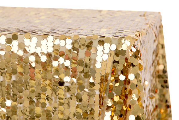 90x132 Customize Rectangular Large Payette Gold Sequin Tablecloth supplier
