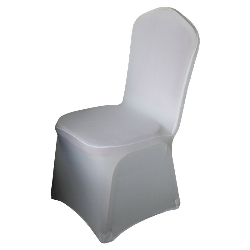 Wholesale customized back boss 1-banquet white spandex chair cover with bowknot printing