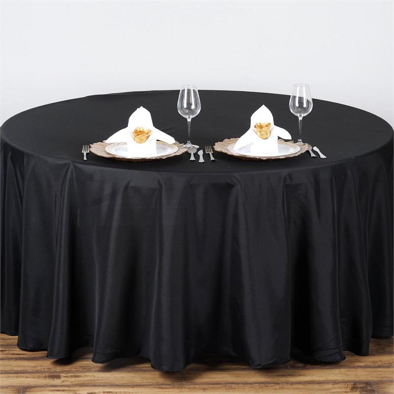 Black polyester 108'' round table cloth Wholesale