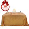 "72"" x72"" fancy square gold sequin tablecloth wedding table cloth factory"