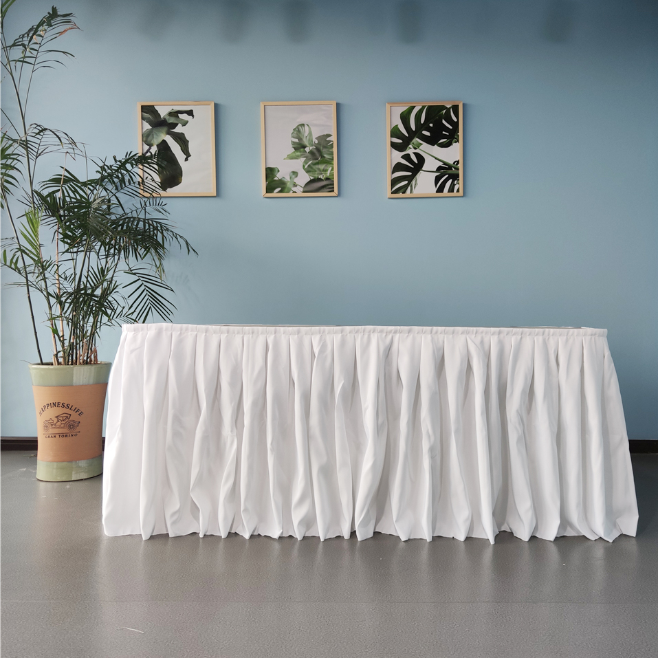 6ft polyester ruffled party table skirt