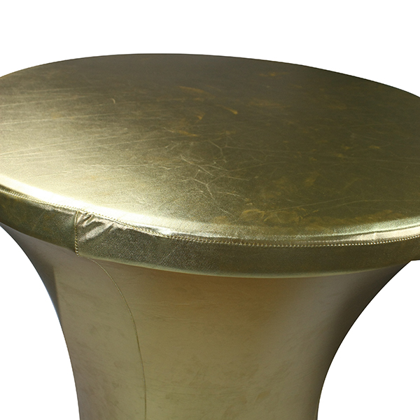 80 x110 cm round polyester stretch gold metallic spandex cocktail table cover for outdoors party table cloth