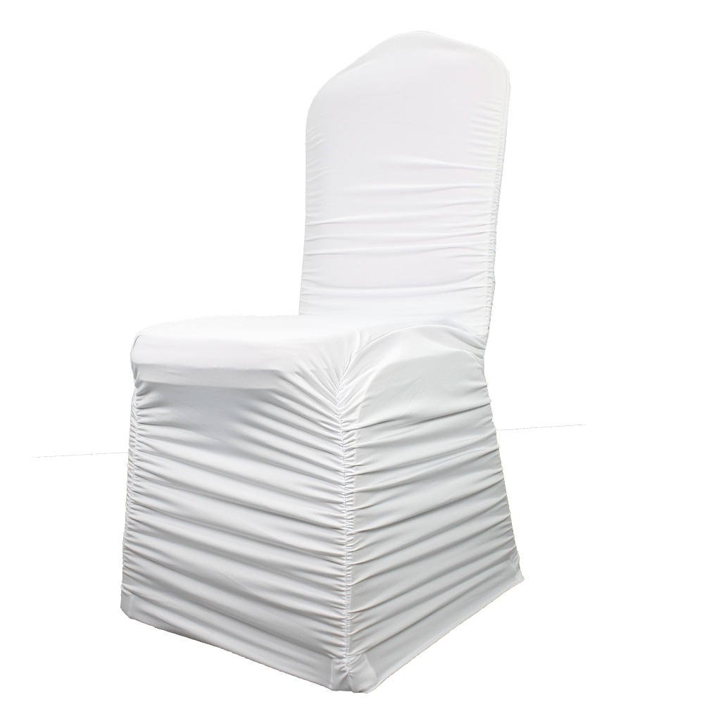 luxury white stretch spandex ruched banquet wedding slipcovers chair covers