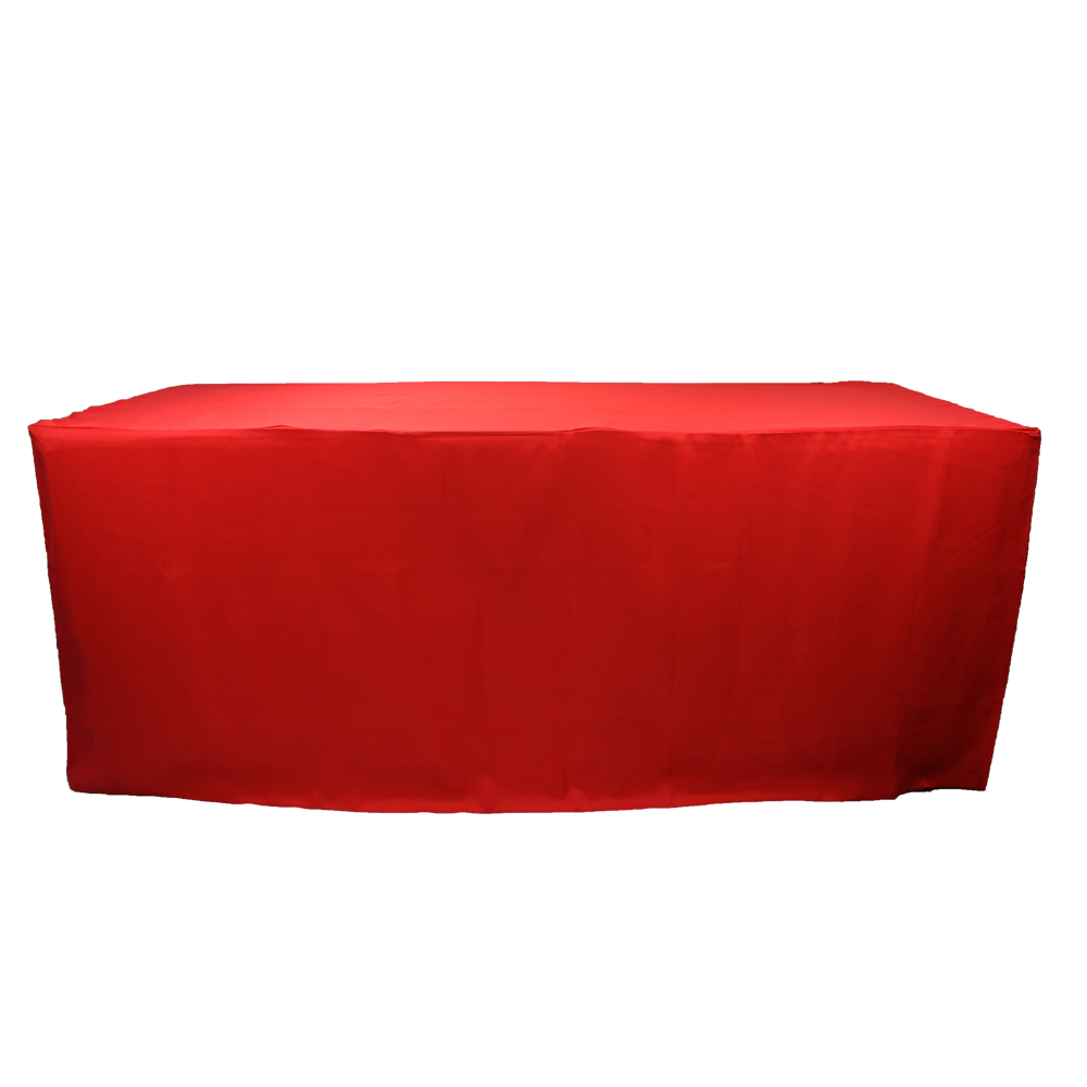 Red rectangular fitted table cloth party banquet tablecloth polyester factory price