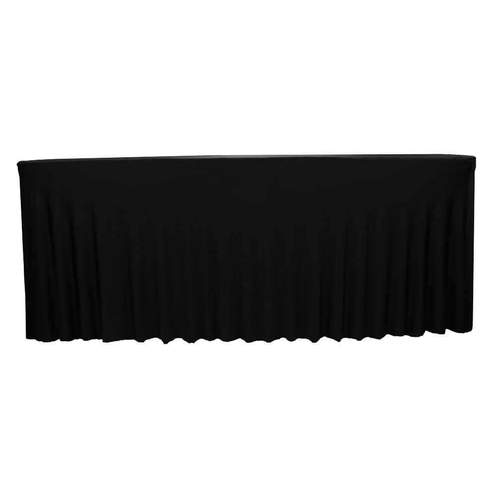 100% polyester fancy cheap ruffled table skirt for banquet party 180GSM fabric