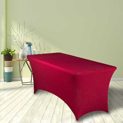 Red polyester spandex lycra tablecloth wedding table cloth supplier