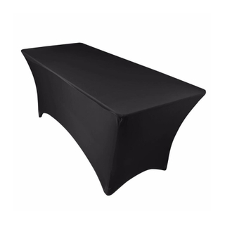 6 FT Black Rectangular Stretch Spandex Tablecloth
