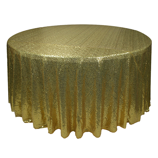 Luxury 100% polyester custom round gold sequin tablecloths for wedding banquet