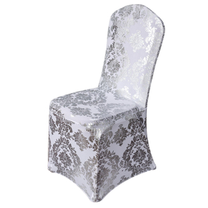 Gold Metallic Damask Stretch Spandex Party Banquet Chair Covers for sale